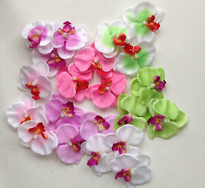 3 artificial butterfly Orchid Flowers Silk Decoration Flowers Head 6cm