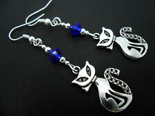 A PAIR OF TIBETAN SILVER & ROYAL BLUE CRYSTAL BEAD  CAT  EARRINGS. NEW.