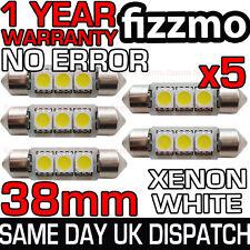 5x 3 Smd Led 38mm 239 272 Canbus No Error Xenon Blanco número Placa Bombilla del Reino Unido