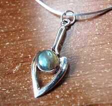 Labradorite Necklace Pointer 925 Sterling Silver Round Cabochon New