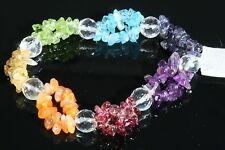 CHAKRA 7 Stone Small Chip Bracelet w/ Faceted Quartz Beads Peridot Citrine
