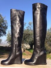 SCARPE MADE IN ITALY SHOE WEDGE BOOTS STIVALE STIEFEL LEATHER CALF BLACK, FETISH