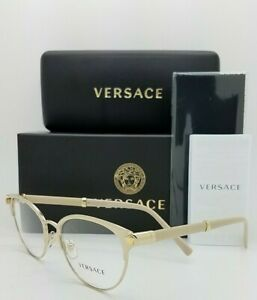 NEW Versace V-Rock RX Frame Glasses VE1259Q 1252 52mm Pale Gold AUTHENTIC women