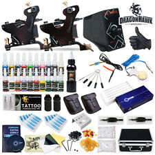 Professional Compass Tattoo Machine Kit 2 Cook Series Gun Inks Power Supply Set