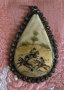 Antique Asian Pendant Hand painted figural design on mother of pearl shell, 4cm