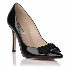 L.K. Bennett IRENE Black Patent Leather Point Toe Court Bow Pump Shoes 36.5 - 6