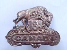 Rare Ww1 184th Bn Lisgar Manitoba Metal Cap Hat Badge Canada Cef Canadian Army