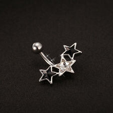 Surgical Steel 3 CZ Triple Star Dangle Piercing Belly Button Navel Belly Bar
