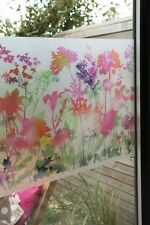 1.5m X 45cm PRETTY  FLOWER STAINED GLASS WINDOW STATIC CLING SELF ADHESIV VINYL