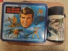 VTG 1974 Aladdin The Six Million Dollar Man Embossed Metal Lunchbox W/ Thermos