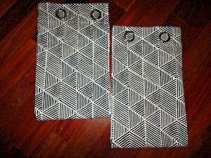 IKEA NUNNERORT BLACK & WHITE GEOMETRIC GROMMET (2) UNLINED DRAPERY PANELS 57X98