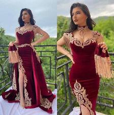 Burgundy Evening Dresses with Detachable Train Velvet Mermaid Muslim Prom Dress