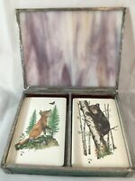Vtg Stardust Playing Cards Plastic Coated In Glass Case Fox/Cub 2 Decks  F1