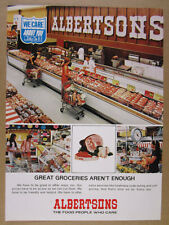 1972 Albertsons Grocery Store meat case butcher counter photo vintage print Ad