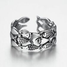 Fish Open Ring For Women Antique Silver Animal Finger Ring Jewelry Girl Gifts