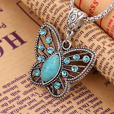 Damen Vintage Charm Halskette Schmetterling Anhänger Kristall Strass Modeschmuck