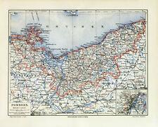 Pommern historische Landkarte Lithographie ca. 1906 antike Karte Geographie