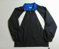 VTG Nike Men Xl  Windbreaker Jacket Zip Nylon Spell Out Swoosh Black Blue 90s