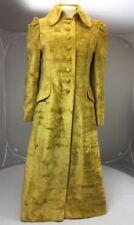 60s Victorian Steampunk Vtg Mustard Yellow Crushed Velvet Gothic Jacket Coat S