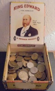 Old Cigar Box of old coins collection of old coins