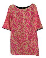 Ann Taylor Loft Womens Shift Dress Pink and Beige Short Sleeve Crew Neck Size 6