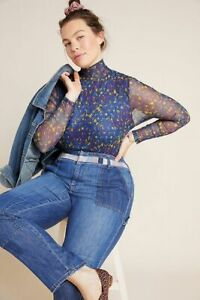 Anthropologie Blue Gauzy Mesh Lined Mock Turtleneck Top Blouse Size XL Floral