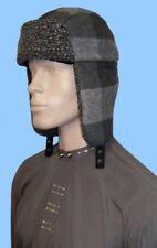 NEW MENS CHARCOAL AVIATOR HAT-BRUSHED PLAID-WOOL BLEND-BERBER TRIM -24.5 inch