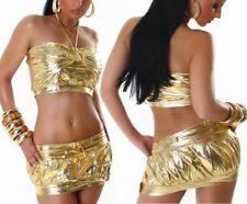 SeXy Damen Gogo metallic Lack Look Disco 2 Teiler Mini Rock Top XS S Gold NEU
