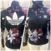 Adidas Women's Originals Track Top Size 10 Floral Black Ladies Jacket Flowers