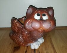 Vintage 1978 Mylo Creations Cat Clay Collectible Figure planter plant holder