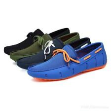 Men Real Leather Summer Lace Loafers Mesh Driving Breathable Stylish Swim Shoes