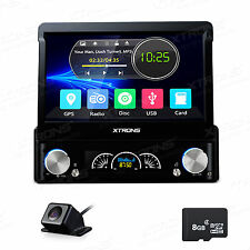 "Single 1DIN 7"" HD Bluetooth GPS NAV Car Stereo CD DVD MP3 Player USB Radio +CAM"