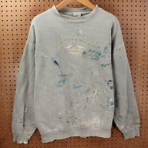 vtg 90s usa sweatshirt LARGE distressed paint splatter newport ri embroidered