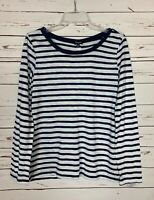 Splendid Women's L Large White Navy Striped Long Sleeve Cute Fall Top Shirt Tee
