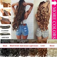 3/4Full Clip In Hair Extend Long Curly Wavy Extensions Piece Heat Resistant--