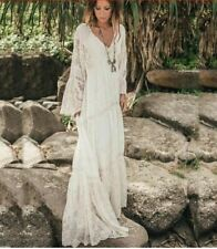 Mango Ivory Heavily Embroidered Sleeved Lace Crochet Vintage Maxi Dress M 10 12