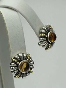 Lagos Caviar Sterling Silver 18K Gold Citrine Earrings - Gorgeous!