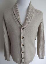 $2360 BRUNELLO CUCINELLI Oatmeal Thick 5Ply Rib Cashmere Cardigan Sweater 56 EU