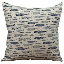 "Vintage Style Printed Fish Cushion. Nautical Blue and Beige. 17x17"" Square."