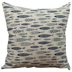 """Vintage Style Printed Fish Cushion. Nautical Blue and Beige. 17x17"""" Square."""