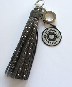 Brighton Let's Hang Out Rockstar Tassel Fob Key Ring-Pewter silver studs