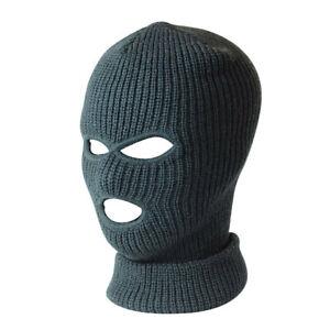3 Hole Black Balaclava Knit SAS Style Mask Neck Warm Hat Ski Paintball Fishing