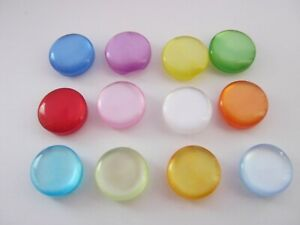 """10 Flat Shank Buttons 12mm (1/2"""") Resin Cats Eye Knitting Sewing Clothes Buttons"""