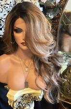 STRIKING-Lace Front, Skin Part, Dark Brown & Red with Streaks of blonde Wig Heat