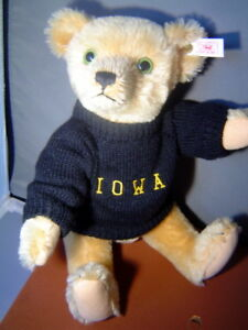 STEIFF SALE Anno Teddy Bear to the IOWA game 14 inch mohair USA Limited Edition