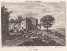 1814 Original Copperplate Engraving Adriaen van de Velde Paysage Landscape Art