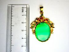 VINTAGE ST. SIL GOLD PLATED PENDANT WITH GREEN ONYX, RUBY,EME.