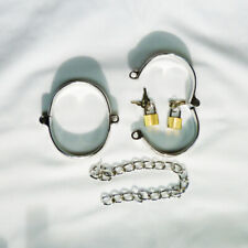 Metal Locking ANKLE shackles & U-clamps - LARGE- CU-27-SIL, FREE UK DELIVERY
