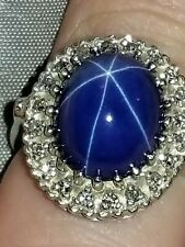 Blue Star Sapphire 14k gold Ring With Small Diamond's