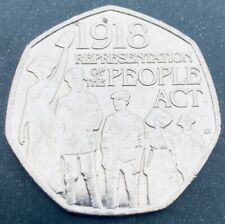RARE 1918 representation of the people act 50p coin 2018 circulated condition